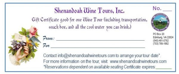 wine tour gift certificate